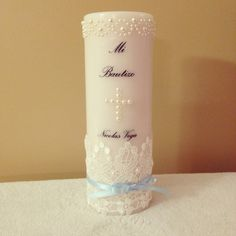 Baptism Candle = use stick on diamantes for a cross?
