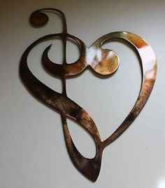 Metal Wall Art Decor Music Heart Notes Musical Clef Mini Version ...