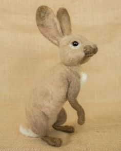 Oliver the Rabbit: Needle felted animal sculpture by The Woolen Wagon