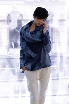 Blue Wool Jacket Oversized Cardigan Felted by AnaLivniSlowFashion  Adore this! Would love!