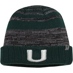2d893baad45 Miami Hurricanes Top of the World Youth Echo Cuffed Knit Hat - Green Gray