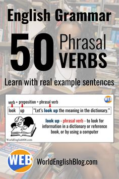 Phrasal verbs combine a verb and a particle or a verb and a preposition. Learn 50 common English phrasal verbs here with lots of real natural examples! English Idioms, English Lessons, English Vocabulary, English Grammar, English Language, English Study, Learn English, Confusing Words, Improve English