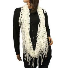 Winter Knit Fishnet Net Fringe Loop Circle Eternity Infinity Scarf Chain White SK Hat shop. $16.95