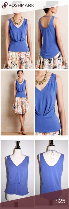 """ANTHROPOLOGIE PLEATED TIGHT ROPE TANK TOP SHIRT Anthropologie Pleated Tight Rope Tank  by Lost April  $78 retail price  New without the tag, inner label marked  Details:  Modal-polyester knit Front pleat detail Scoop back Hand wash Imported Style No. 4112360592809 Dimensions 23.5""""L armpit to armpit flat 18"""" Anthropologie Tops Tank Tops"""