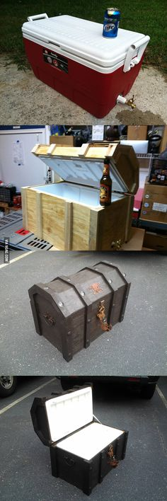 DIY Pirate Chest Cooler! Diy Projects To Try, Home Projects, Craft Projects, Woodworking Plans, Woodworking Projects, Intarsia Woodworking, Woodworking Beginner, Woodworking Organization, Woodworking Quotes