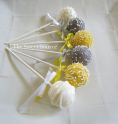 Grey White Yellow baby shower, cake pops would be so easy and less mess then a cake... for @Meredith Dlatt McDermott