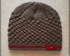 """Hat """"Nelly"""" features a beautiful textured stitch that is pretty easy to knit. The hat is made in the round and does not have a seam. The little bow is knitted separately and sewn to the hat. Love Crochet, Knit Crochet, Crochet Hats, Knitting Patterns, Crochet Patterns, I Love This Yarn, How To Purl Knit, Knit Picks, Yarn Over"""