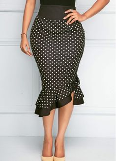 Black High Waist Ruffle Hem Polka Dot Skirt   Rosewe.com - USD $28.85