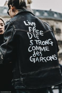 Customised jacket from Mui Mui - trend for individual expression as we move away from mass produced meaningless product. PFW-Paris_Fashion_Week_Fall_2016-Street_Style-Collage_Vintage-Miu_Miu-Biker_Leather_Jacket-1