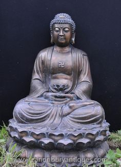 Photo of Large Tibetan Bronze Buddha Statue Buddhism Lotus Meditation Pose Buddhist Art