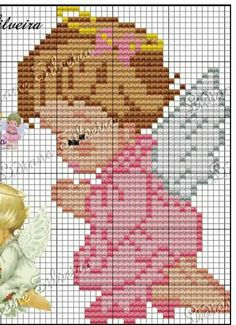 Cross stitch pattern Little An Cross Stitch Angels, Cross Stitch For Kids, Cross Stitch Tree, Beaded Cross Stitch, Cross Stitch Baby, Cross Stitch Kits, Cross Stitch Patterns, Hama Beads Disney, Christian Crafts