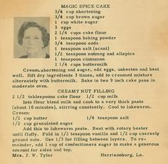Roots From The Bayou: Family Recipe Friday ~ Magic Spice Cake. Roots From The Bayou: Family Recipe Friday ~ Magic Spice Cake. Retro Recipes, Old Recipes, Vintage Recipes, Cookbook Recipes, Baking Recipes, Spice Cake Recipes, Dessert Recipes, Fudge Recipes, Candy Recipes