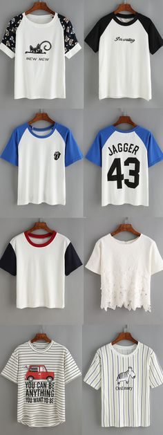 What's best for summer/spring?Best with icon tee. Slogan tee,cute crew neck tee,loose graphic tee & casual plain tee. Find more dress idea at romwe.com.