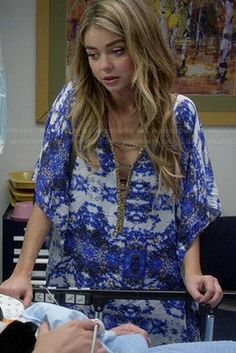 218be4cd3df9 Haley s blue printed swim cover-up on Modern Family. Outfit Details  https
