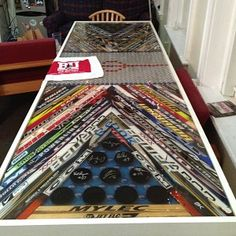 Hockey stick and puck table