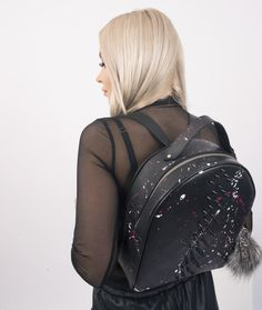 Nothing like your average leather backpack. This studded bag is a true dark beauty! Made from genuine leather in Italy. From the Studmuphin® brand. Luxury Bag Brands, Luxury Bags, Leather Backpack, Leather Bag, Studded Bag, Dark Beauty, Leather Craft, Colorful Interiors, Fashion Backpack