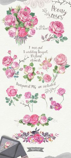 Wedding invitations watercolor 40PNG by Mikibith on @creativemarket