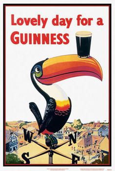 GUINNESS LOVELY DAY BIRDS 24X36 POSTER FUNNY DRINKING OLDSCHOOL COLLEGE WALL ART