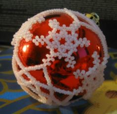 Beaded snowflake ornament cover