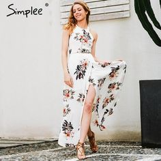 Simplee Floral print halter chiffon long dress Women white split beach summer dress Sexy backless maxi dresses vestidos 2017 new