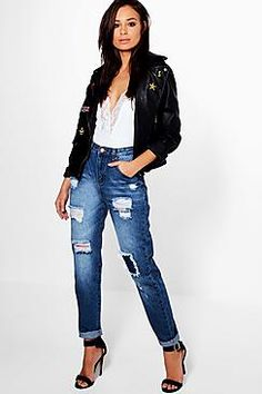 Hatty High Rise Ripped Boyfriend Jeans