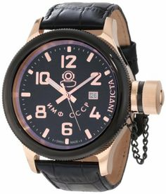 Invicta Men's 12426 Russian Diver Black Dial Stainless Steel Watch Invicta. $199.99. Swiss quartz movement. Black dial with rose gold tone hands and arabic numerals; luminous; secured screw-down cap on crown. Water-resistant to 100 M (330 feet). Mineral crystal; gold ion-plated stainless steel case; leather strap. Date function at 3:00. Save 86% Off!