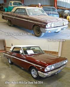 Before and After, 1964 Ford Fairlane Retro Cars, Vintage Cars, Galaxy Vans, 1964 Ford, Ford Torino, Ford Fairlane, Ford Motor Company, American Muscle Cars, Barn Finds