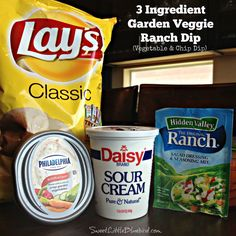 With football season in full swing, here is a super easy dip that's sure to have family and friends cheering during the game - 3 Ingredient Garden Veggie Ranch Dip! Awesome with your favorite chips, Chip Dip Recipes, Snack Recipes, Cooking Recipes, Ranch Dip Recipes, Ranch Vegetable Dip Recipe, Barbecue Recipes, Dinner Recipes, Easy Chip Dip, Vegetable Chips