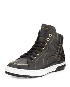 Nicky Stitched Gancini High-Top Sneaker by Salvatore Ferragamo at Neiman Marcus.