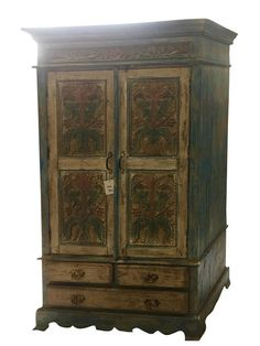 Buy online Consigned Antique Cabinet Rustic Distressed Furniture Armoire With Drawers by Mogulinterior Antique Armoire, Antique Cabinets, Antique Decor, Rustic Decor, Distressed Furniture, Rustic Furniture, Antique Furniture, Home Furniture, Cabinet Furniture