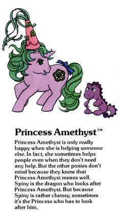 My Little Pony Princess Amethyst and Spiny the dragon fact file ...