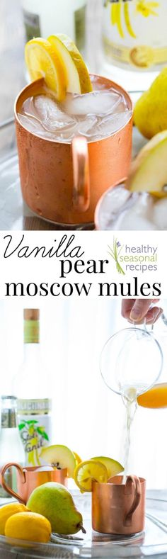 These Vanilla Pear Moscow Mules are a fun and festive cocktail for Thanksgiving, Christmas and more! Plus how many drinks to serve at a party- calculator. #christmasrecipes #cocktail | Healthy Seasonal Recipes