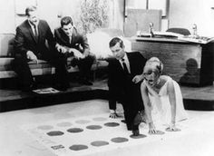 Eva Gabor and Johnny Carson, playing Twister