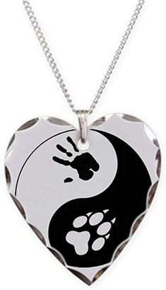 b15b6aa845 Amazon.com: CafePress - Wolf Therian Ying Yang - Charm Necklace with Heart  Pendant: Clothing