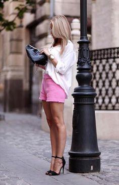 pink shorts Fashion Mode, New Fashion Trends, Moda Fashion, Girl Fashion, Womens Fashion, Fashion Outfits, Uk Fashion, Ladies Fashion, Fashion Ideas
