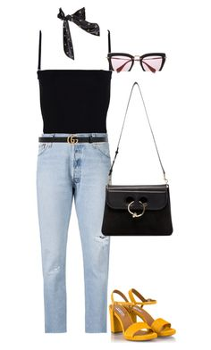 Untitled #4190 by lily-tubman on Polyvore featuring polyvore, moda, style, RE/DONE, T By Alexander Wang, Fratelli Karida, J.W. Anderson, Miu Miu, Yves Saint Laurent, Gucci, fashion and clothing