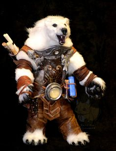 This is one of the most time consuming and detailed art dolls I have ever made. I hand crafted everything from the hand bound book, to sculpting . Polar Bear Warrior Hand Crafted Art Doll For Sale Fun Crafts, Arts And Crafts, Bear Costume, Guild Wars 2, Dolls For Sale, Detail Art, Magical Creatures, Soft Sculpture, Werewolf