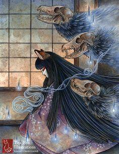 Unmasked / Fox, Kitsune, Japanese Art, Youkai / Wall Decor / 11x14 Poster Print  TeaFoxIllustrations