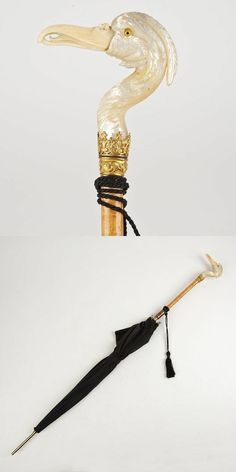 Victorian parasol with pearl and ivory handle: Late 19th c