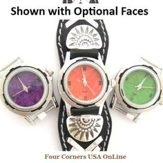 Four Corners USA Online - Women's Sterling Leather Watch Strap Native American Indian Jewelry with Optional Stone Face, $97.00 (http://stores.fourcornersusaonline.com/womens-sterling-leather-watch-strap-native-american-indian-jewelry-with-optional-stone-face/)