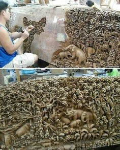 Incredible wood carving! Artist unknown.