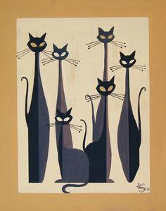 Cats - El Gato Gomez Art Illustration cats and dogs Retro Kunst, Retro Art, Illustration Art, Illustrations, Cat Quilt, Mid Century Art, Vintage Cat, Vintage Style, Cat Drawing