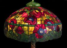 "Mary Harris.  ""24"" Poppy drawn from an original Tiffany lamp. Poppies and border are Uroboros glass. GREAT REDS!"""