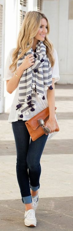 love this super casual outfit - flowy loose T with great big scarf and skinny jeans - this is a go-to look for me every weekend. Pretty much what I always wear on a plane as well.