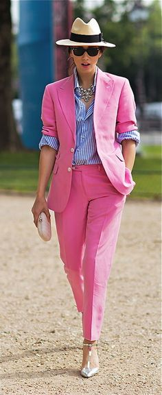 Pink suit and panama hat this summer! photo via: Stockholm Street Style Fashion Mode, Fashion Week, Look Fashion, Womens Fashion, Fashion Trends, Street Fashion, Mode Style, Style Me, Pink Style