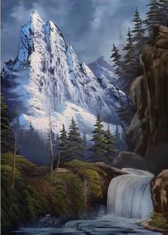 "Bob Ross ""Royal Majesty"" Bob Ross Artworks, Bob Ross Paintings, Happy Paintings, The Joy Of Painting, Lake Painting, Encaustic Painting, Pinturas Bob Ross, Dream Catcher Art, 3d Fantasy"