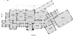 Main Floor Plan image for Mascord Franciscan-Two Story, Five Bedroom Plan with Guest House-Main Floor Plan California Missions, California Homes, Bedroom House Plans, House Floor Plans, Moving New House, Minnesota Home, Stone Siding, Home Theater Rooms, Luxury House Plans