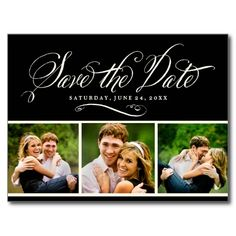 Black Photo Save the Date | Calligraphy Script Post Card