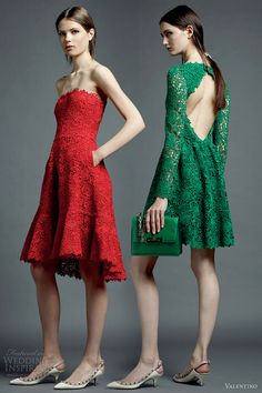 valentino resort 2013 red green color guipure lace short dresses