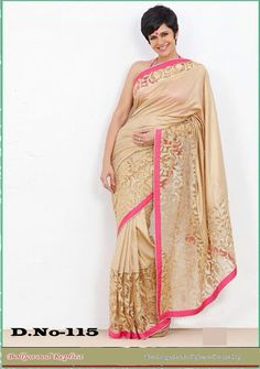 Mandira Bedi Moss Beige Bollywood Style Saree - 115 at Rs 2635
